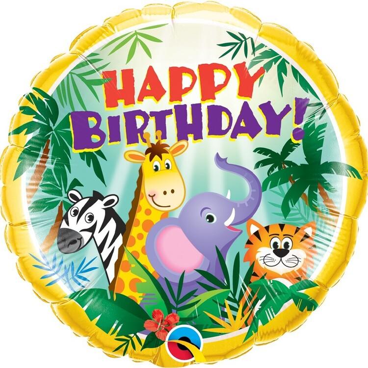 Qualatex Round Jungle Friends Birthday Foil Balloon