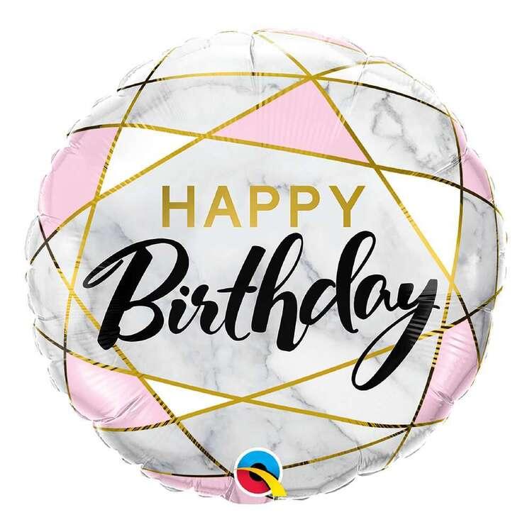 Qualatex Marble Rectangles Birthday Foil Balloon