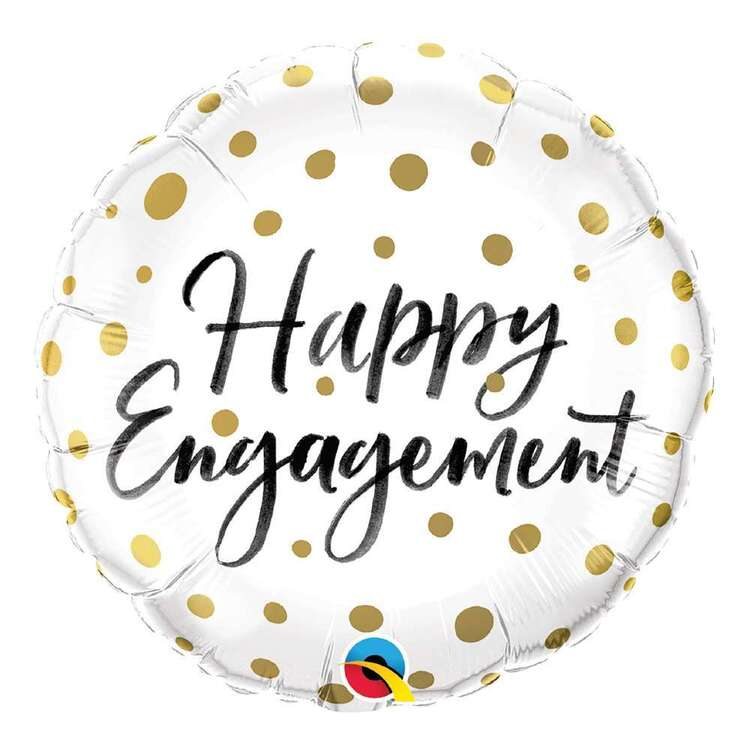 Qualatex Happy Engagement Gold Dots Foil Balloon