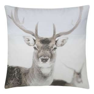Bouclair Faux Fur Deer Printed Cushion