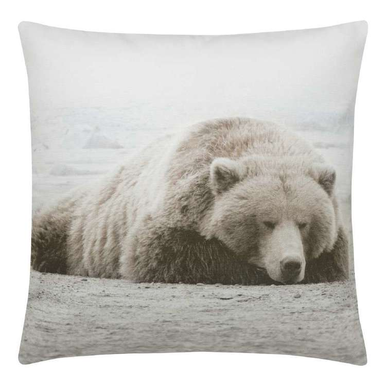 Bouclair Faux Fur Sleepy Bear Printed Cushion White 48 x 48 cm