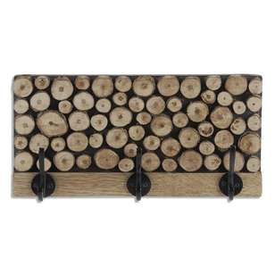 Bouclair Faux Fur Wood Logs Hooks