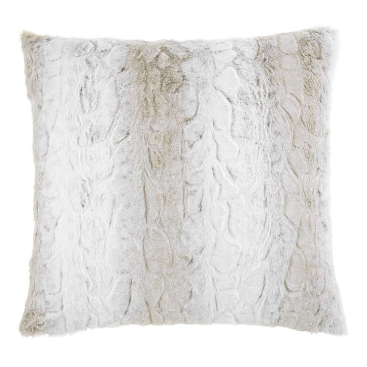 Bouclair Faux Fur Lynx Cushion Beige 51 x 51 cm
