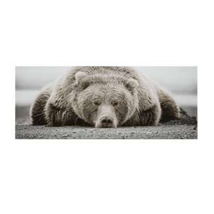 Bouclair Faux Fur Mini Sleepy Bear Canvas