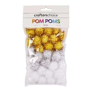 Crafters Choice Metallic Pom Poms 50 Pack