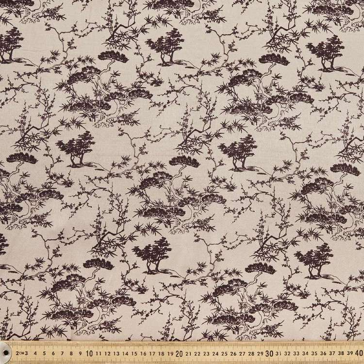 Brushed Toile Printed 140 cm Rayon Satin Fabric