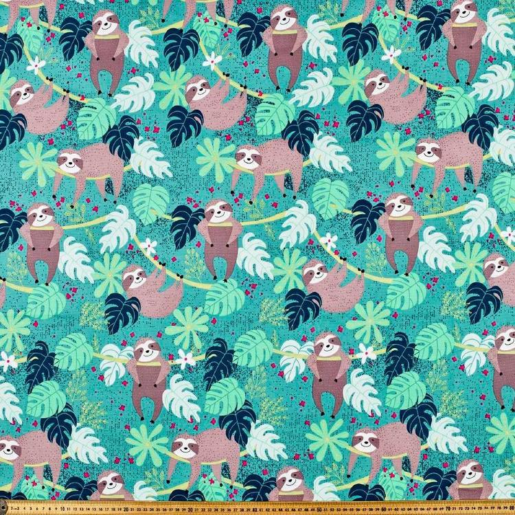 Happy Sloth Printed Cotton Duck Fabric