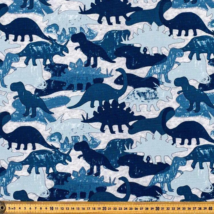 Dinosaur Blues Printed Cotton Duck Fabric