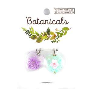 Botanicals Resin Heart 2 Pack