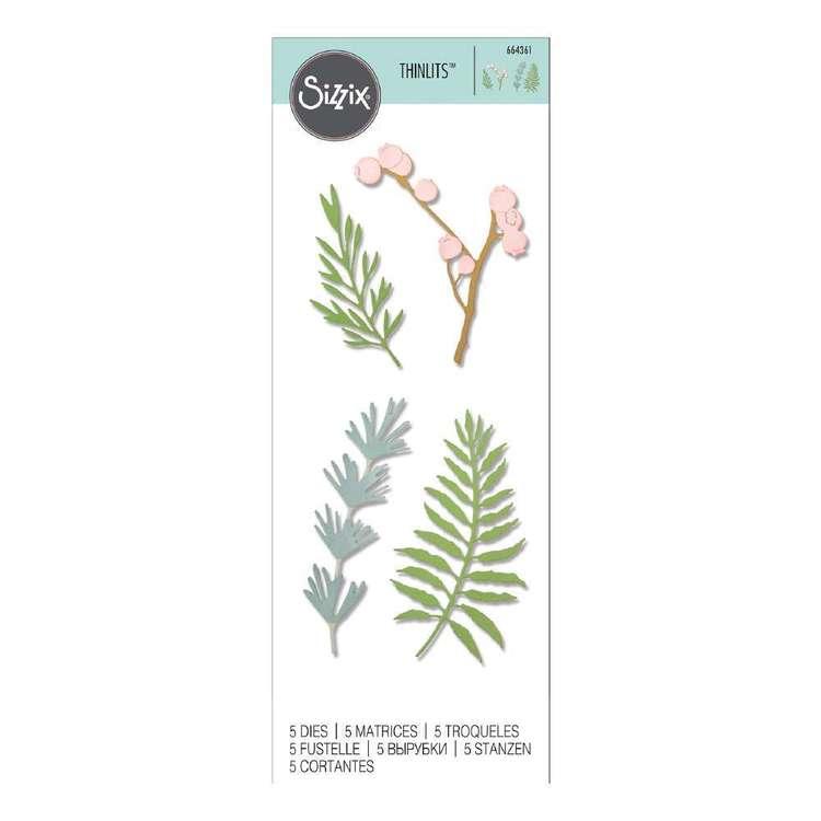 Sizzix Thinlits Jen Long Natural Leaves Die 5 Pack