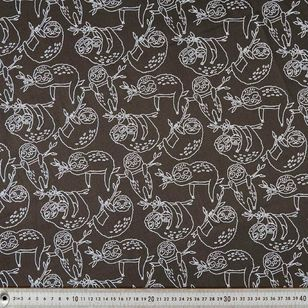 Sloth Outline Cotton Fabric