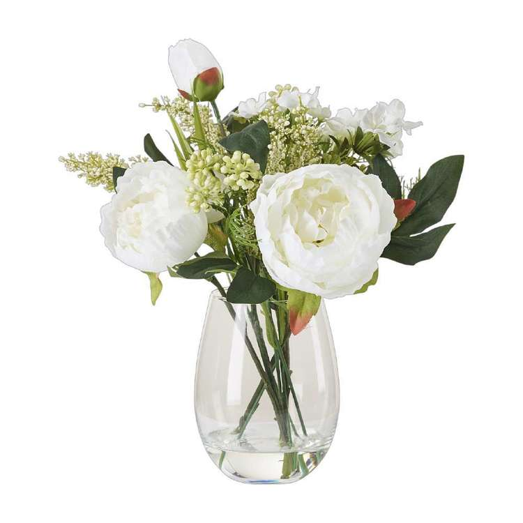 Living Space Peony Mix In Tub Vase White 28 cm