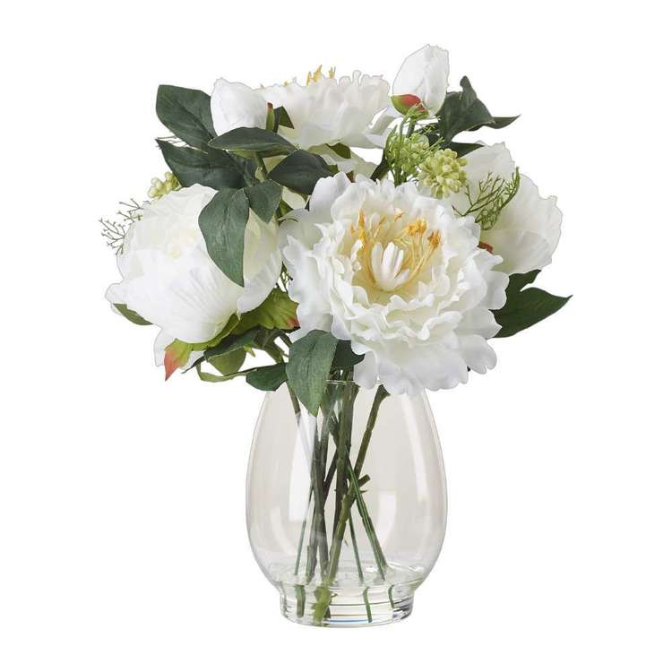 Living Space Peony Mix In Round Vase