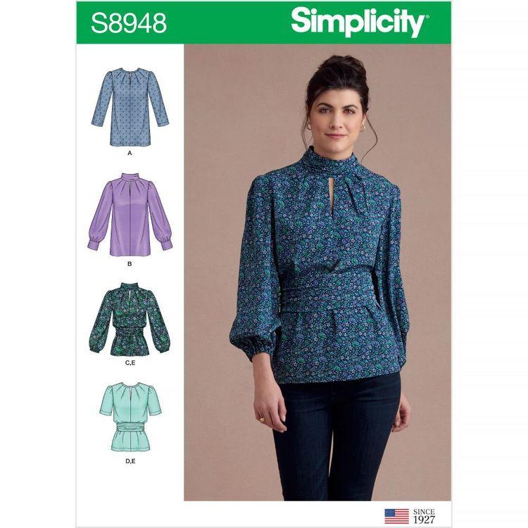 Simplicity Pattern S8948 Misses' Blouses with Cummerbund