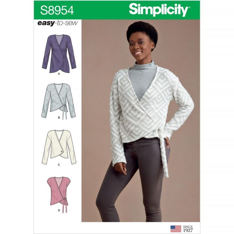 Simplicity Pattern S8954 Misses' Wrap Cardigan with Variations