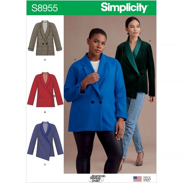 Simplicity Pattern S8955 Misses' and Women's Raglan Sleeve Jackets