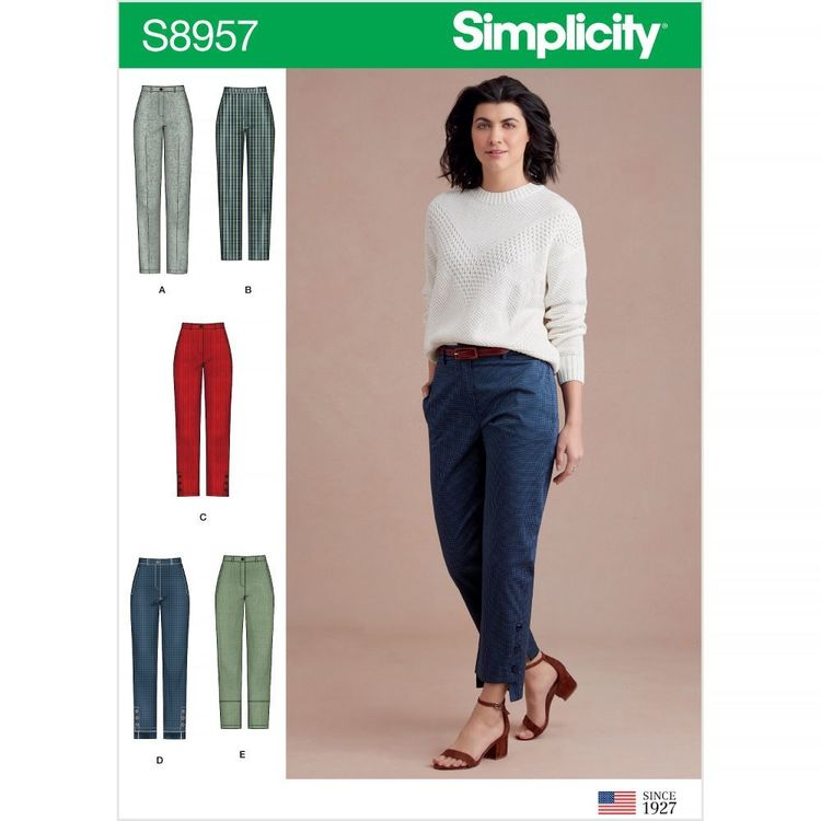 Simplicity Pattern S8957 Misses' Slim Leg Pant with Variations