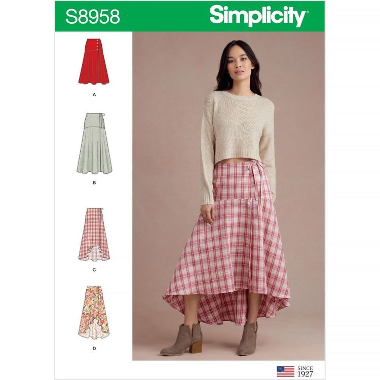 Simplicity Pattern S8958 Misses' Wrap Skirts