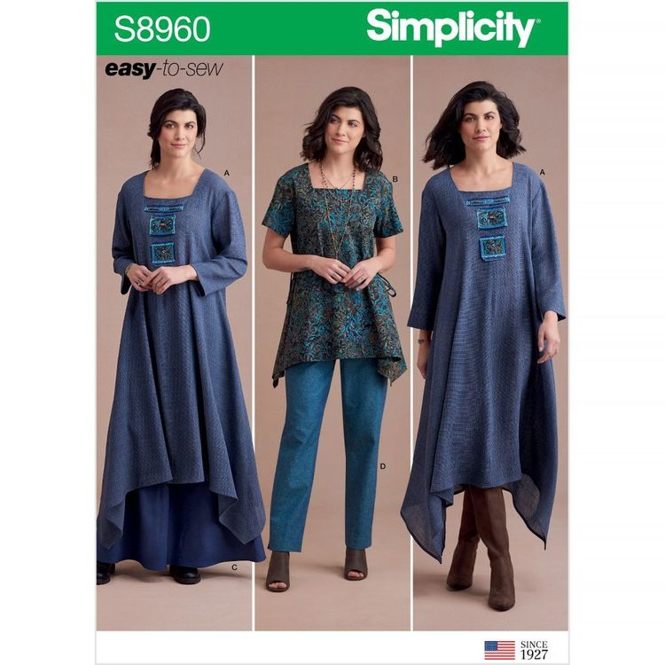 Simplicity Pattern S8960 Misses' Dress Or Tunic, Skirt and Pant