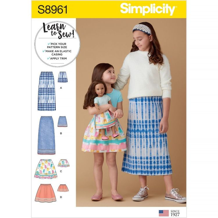 Simplicity Sewing Pattern S8961 Children's, Girls', and Dolls' Skirts