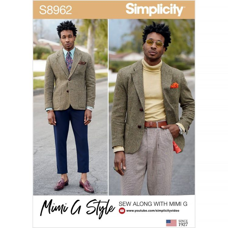 Simplicity Pattern S8962 Men's Lined Blazer by Mimi G Style