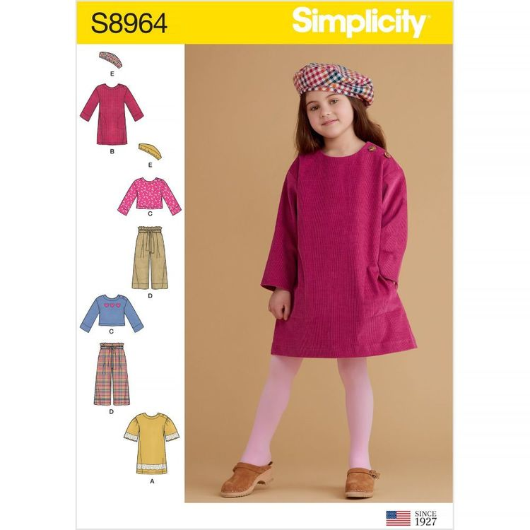 Simplicity Sewing Pattern S8964 Children's Dresses, Tops, Pants, and Hat
