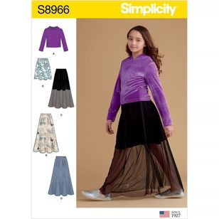 Simplicity Pattern S8966 Girls' Skirts and Knit Top