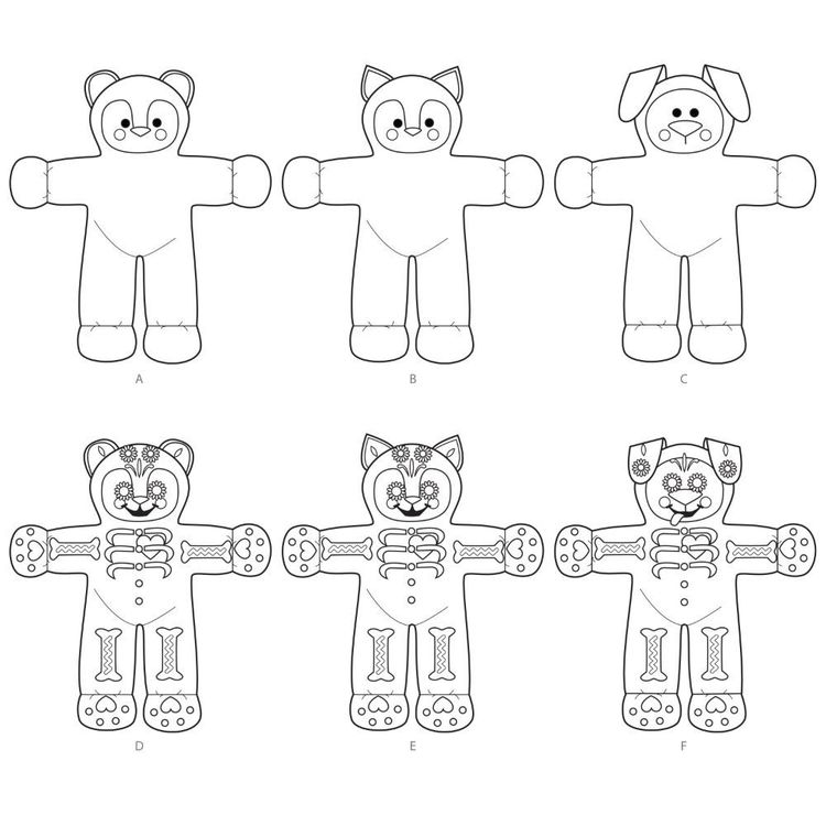 Simplicity Pattern S8968 Festive Stuffed Bear, Cat, and Dog