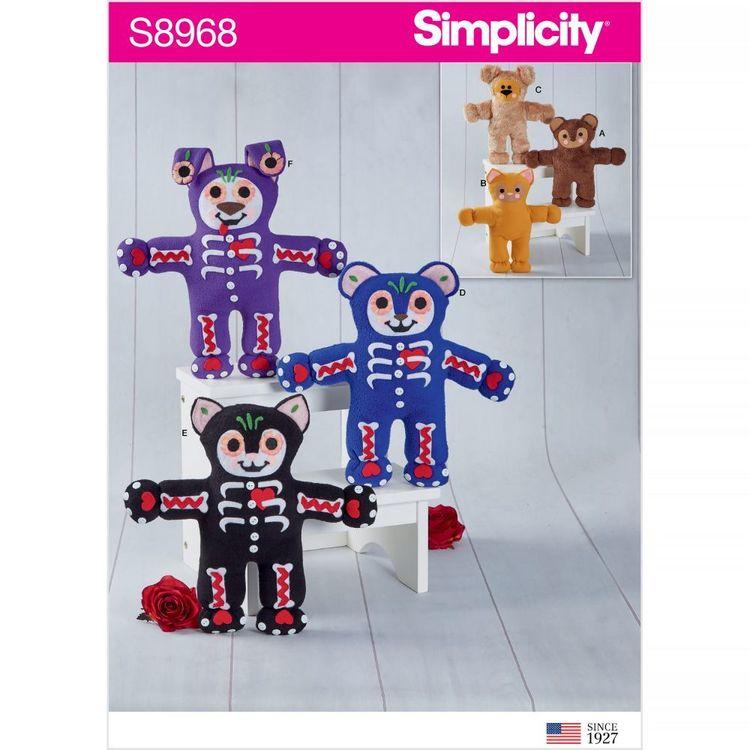 Simplicity Pattern S8968 Festive Stuffed Bear, Cat, and Dog