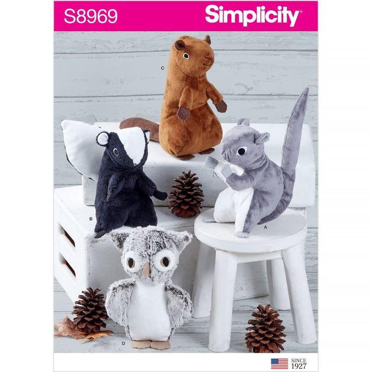 Simplicity Pattern S8969 Squirrel, Owl, Skunk, Beaver Stuffies