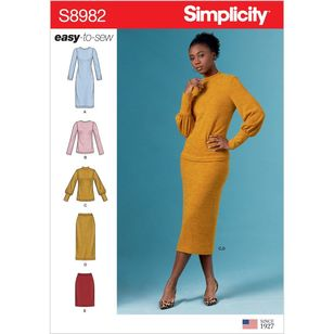 Simplicity Pattern S8982 Misses' Knit Two Piece Sweater Dress, Tops, Skirts