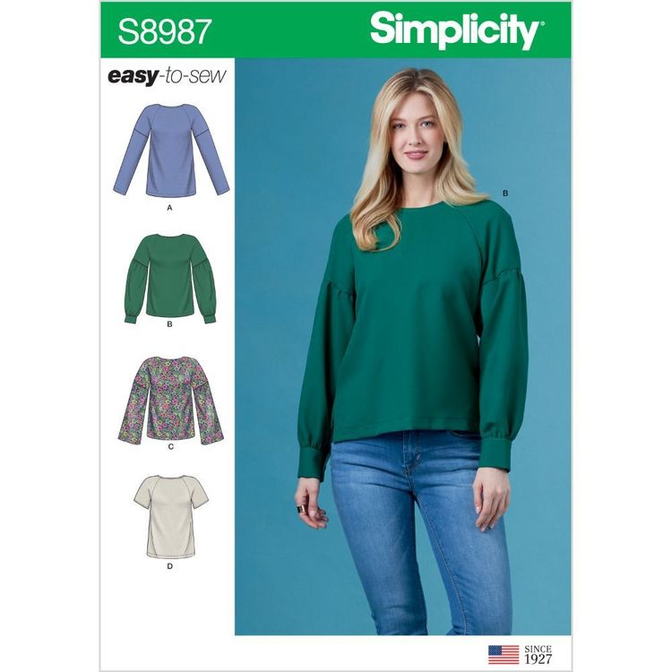 Simplicity Pattern S8987 Misses' Tops with Sleeve Variations