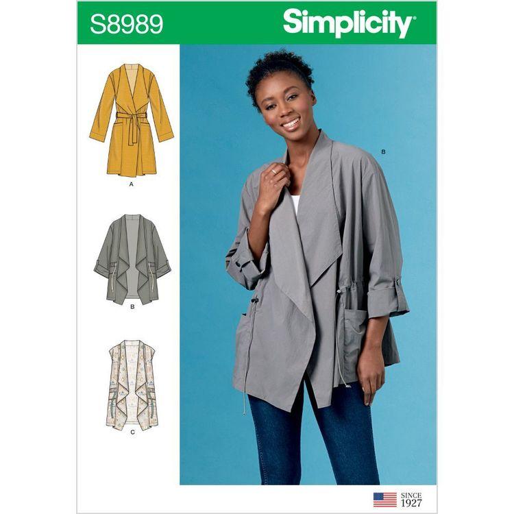 Simplicity Pattern S8989 Misses' Jacket, Coat and Vest