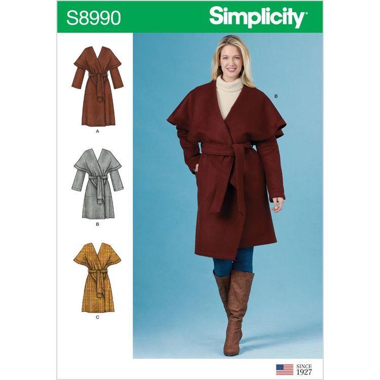 Simplicity Pattern S8990 Misses' Wrap Coats