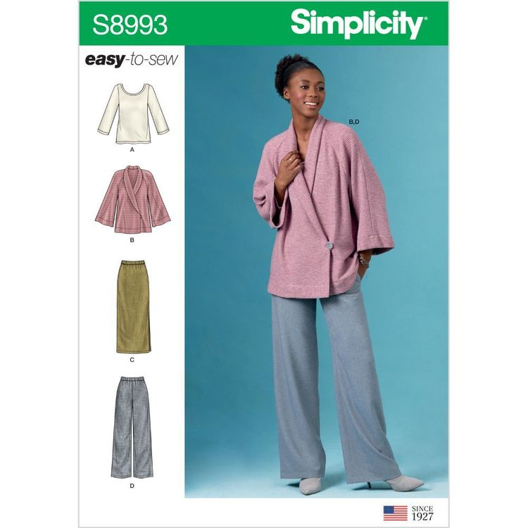Simplicity Pattern S8993 Misses' Knit Jacket, Top, Skirt and Pants