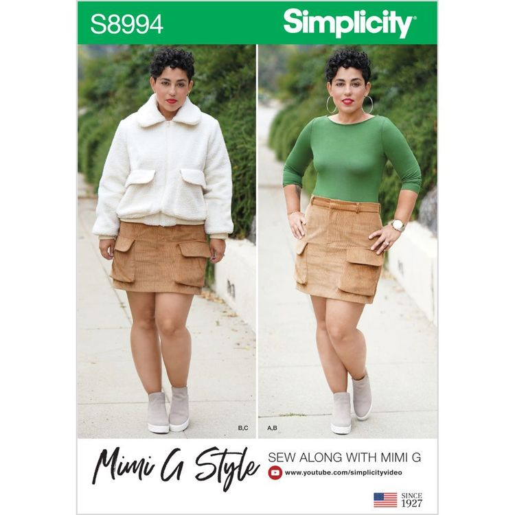 Simplicity Pattern S8994 Misses' Mimi G Style Jacket, Skirt, and Knit Top