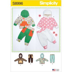 Simplicity Pattern S8996 Babies' Knit Hoodie Top and Pants