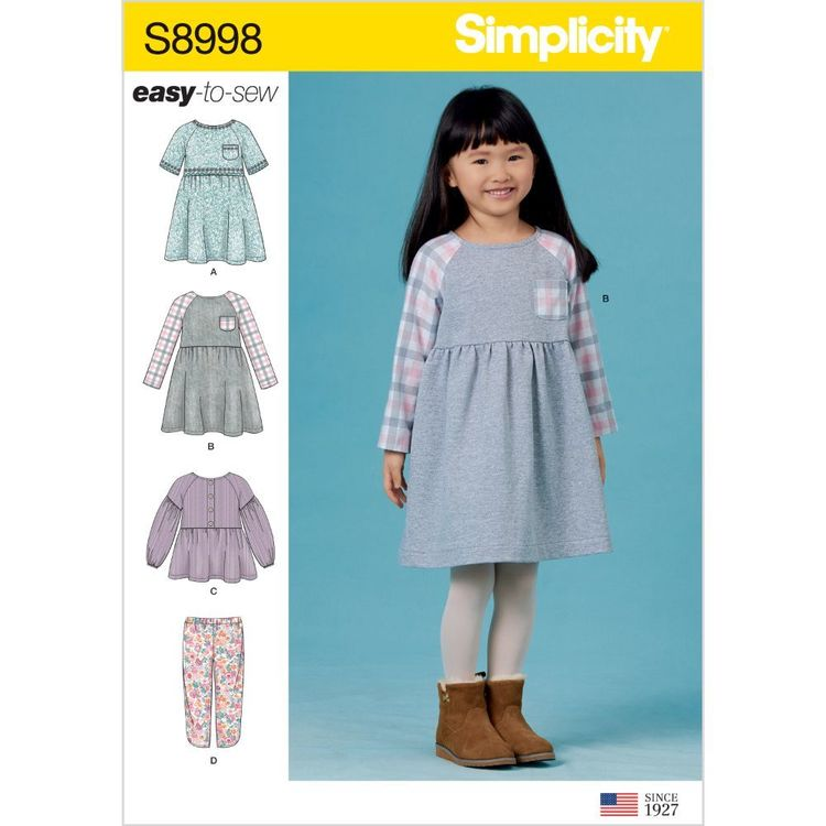 Simplicity Pattern S8998 Children's Easy-To-Sew Sportswear Dress, Top, Pants