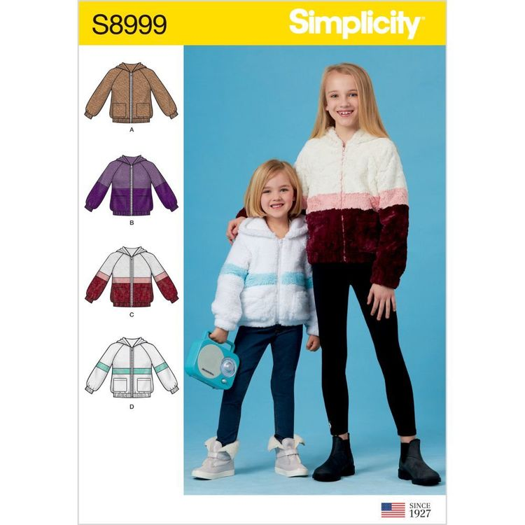Simplicity Pattern S8999 Children's and Girls' Knit Hooded Jacket