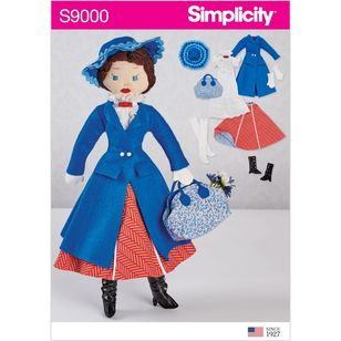 "Simplicity Pattern S9000 17"" Stuffed Doll and Clothes"