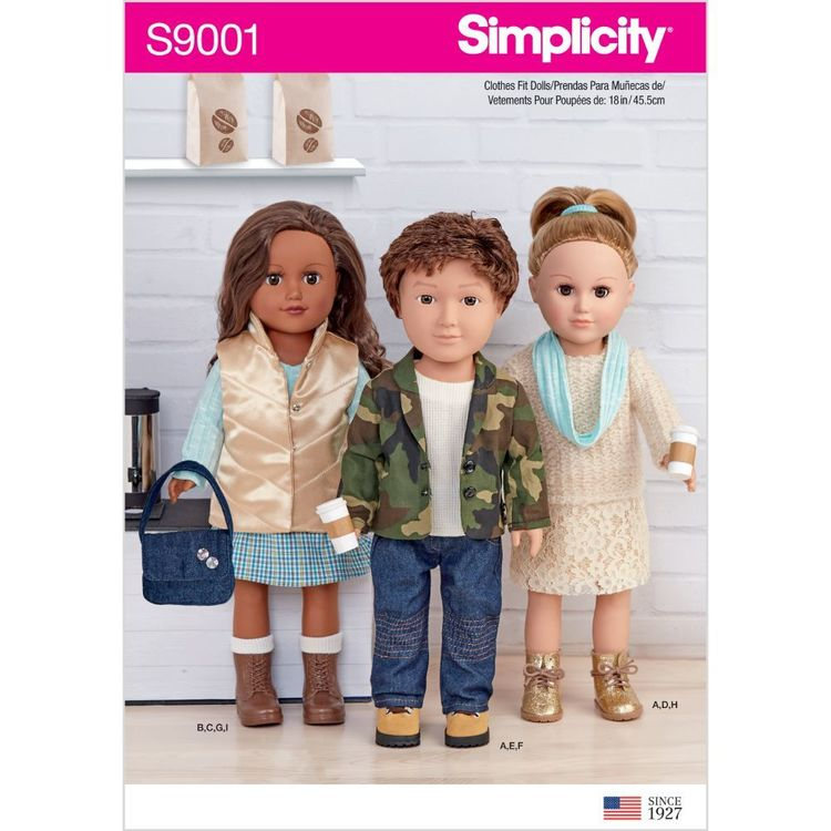 """Simplicity Pattern S9001 18"""" Unisex Doll Clothes"""