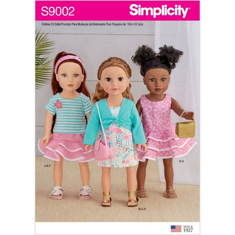 """Simplicity Pattern S9002 18"""" Doll Clothes"""