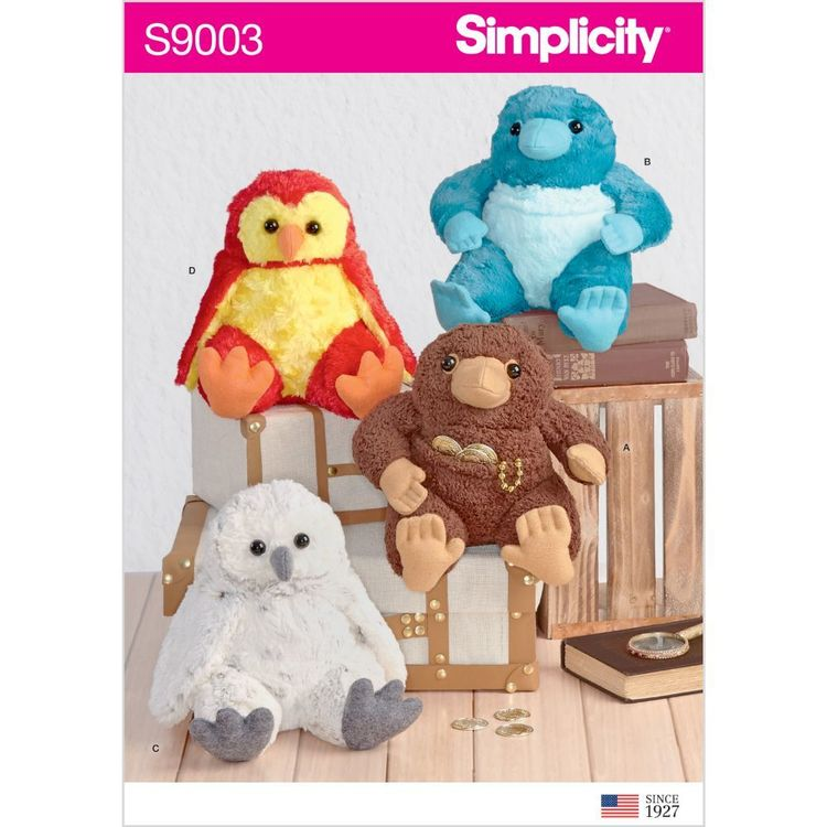 "Simplicity Pattern S9003 8-1/2"" Stuffed Animals"