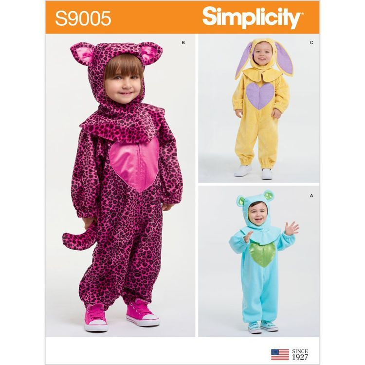 Simplicity Pattern S9005 Toddlers' Bunny, Bear, and Cat Costumes 6 Months - 4 Years