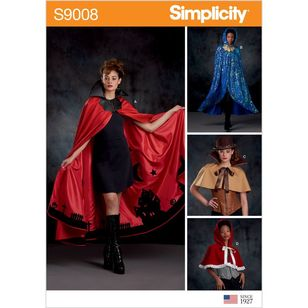 Simplicity Pattern S9008 Misses' Cape with Tie Costumes