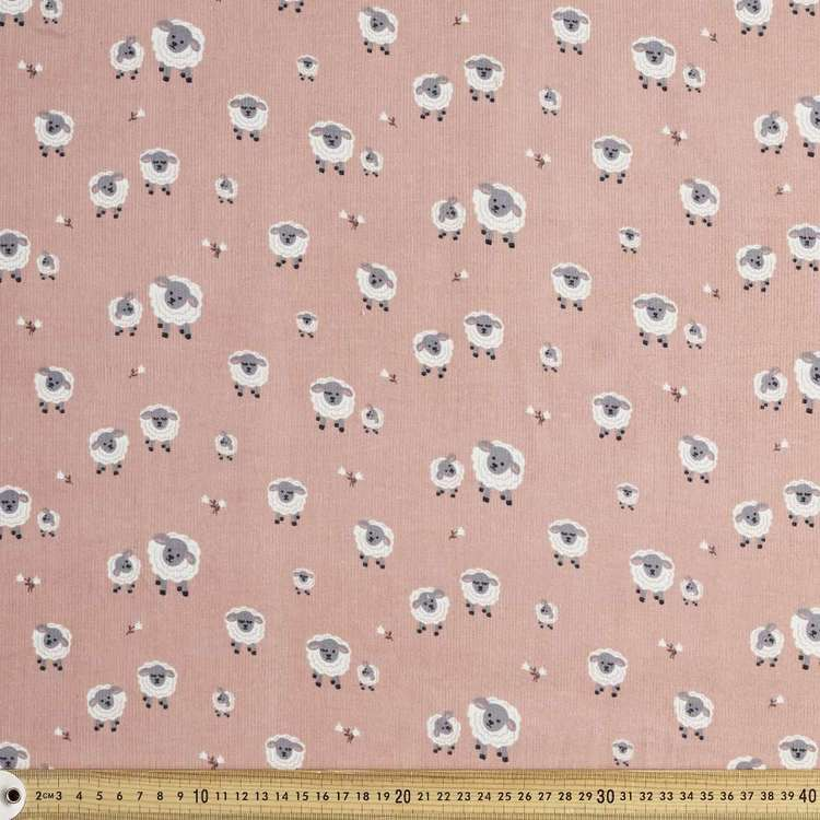 Sleepy Sheepy Printed 112 cm Pinwale Cord Fabric
