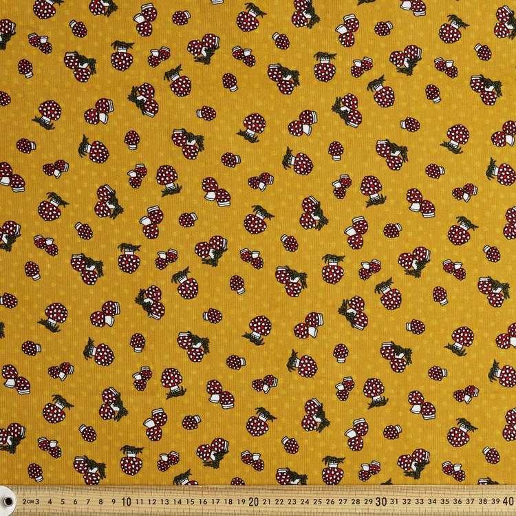 Small Mushroom Printed 112 cm Pinwale Cord Fabric