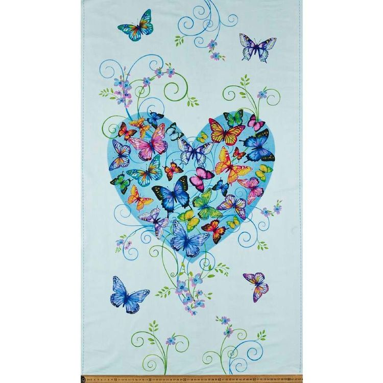 Studio E Butterfly Paradise Heart Cotton Panel