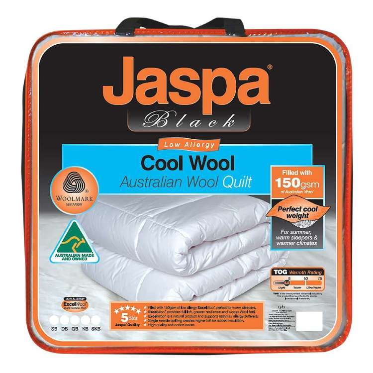 Jaspa Black Cool Wool Quilt