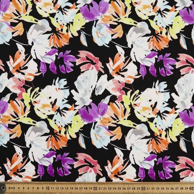 Neon Floral Printed 148 cm Scuba Knit Fabric